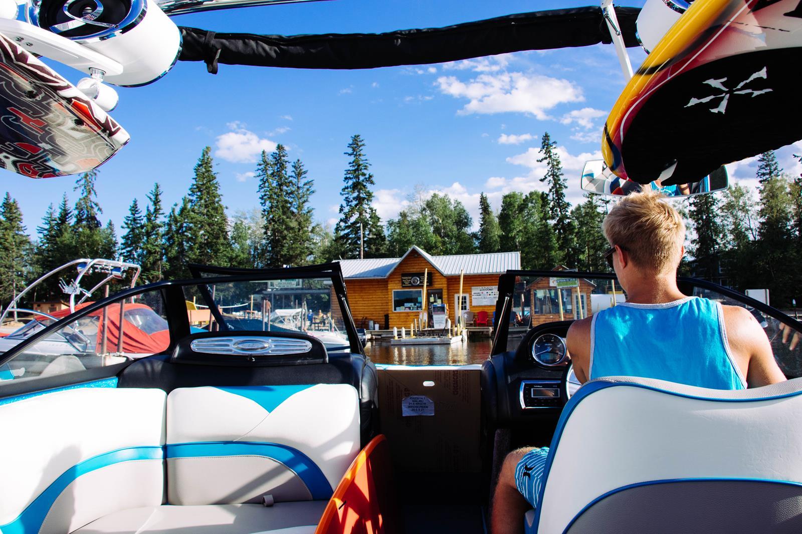 marina at sunset Bay Resort Emma Lake SK from a Ski boat